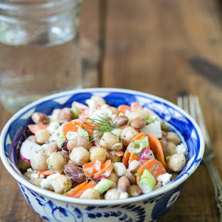 Chickpea and Vegetable Salad with Yogurt Dill Dressing Recipe