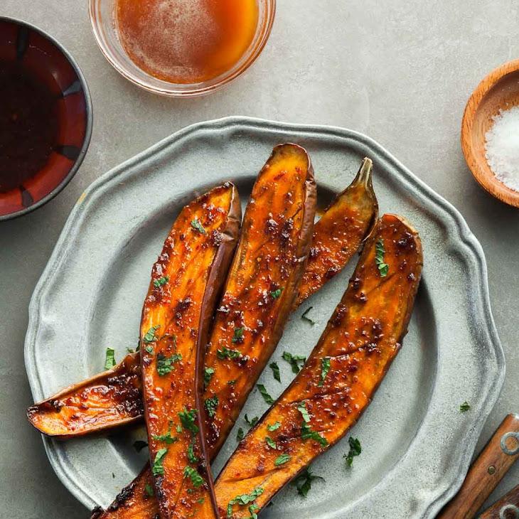 Honey Harissa Roasted Eggplant Recipe