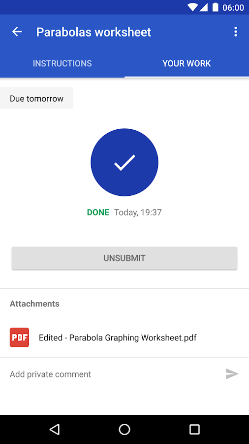 Screenshots of Google Classroom for Android