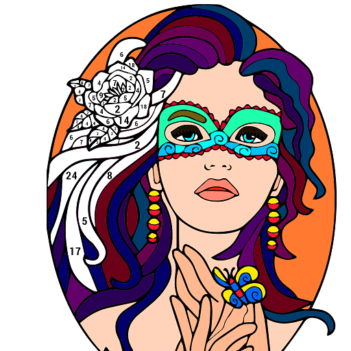 Beauty Color by Number - Adult Coloring Book Pages Icon