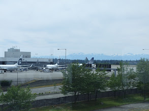 Photo: SeaTac airport with moutians in the background.