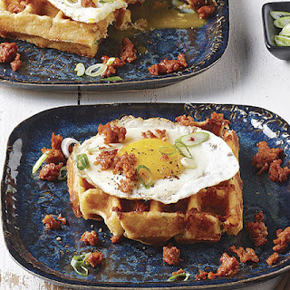 Cornmeal-Cheddar-Chipotle Waffles with Fried Eggs and Chorizo