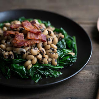 Black Eyed Peas with Spinach and Bacon.