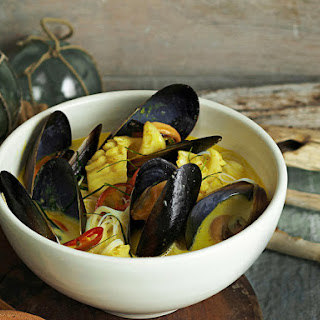 Spicy Coconut Mussels and Squid