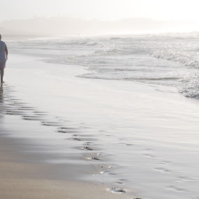 Stroling on the Beach by Lana Kirstein - People Couples ( romance, sunrise, walking, beach, footsteps )