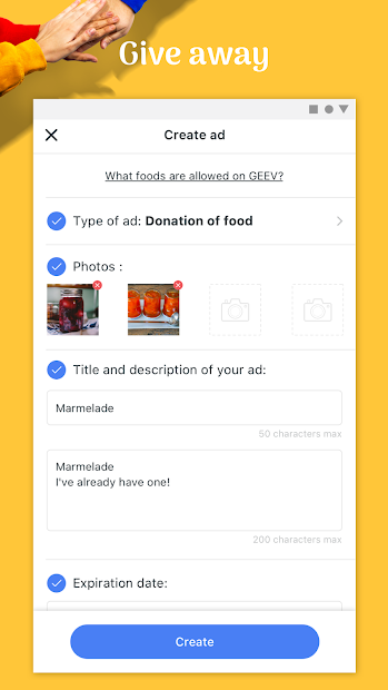 Geev: The Zero Waste Solution Android App Screenshot