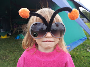 Photo: Very silly glasses at Cloud Cuckoo Land Festival! We had great fun running this workshop... Little Tabitha in just the latest thing! #cloudcuckooland #cloudcuckoo