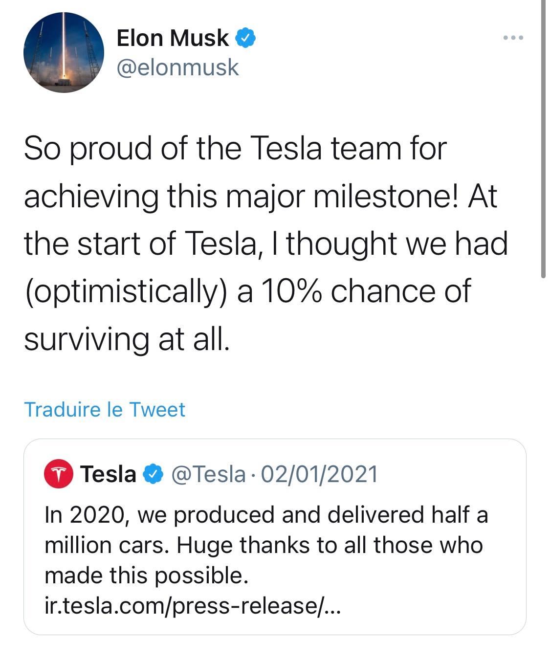 Remerciement Elon Musk