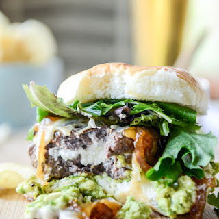 Goat Cheese Guac Burgers with Cheddar and Caramelized Onions Recipe