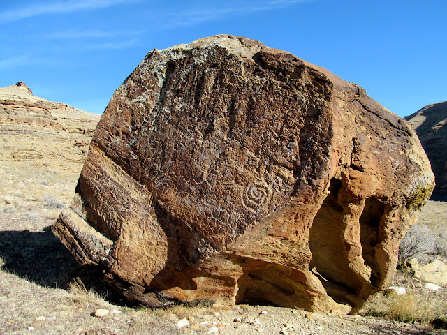 Large boulder covered in petroglyphs