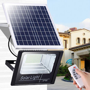 Proiector LED exterior 60W alb rece cu panou solar, Solar Light IP 66