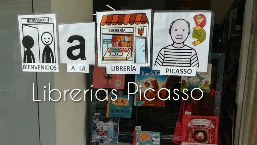 Pictogramas nos dan la bienvenida en Librerías Picasso.