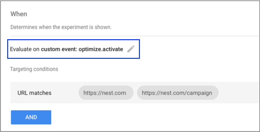 The targeting tab of an experiment details page in Optimize.