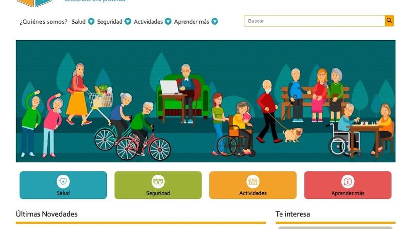 Captura de pantalla de la plataforma web En Buena Edad.