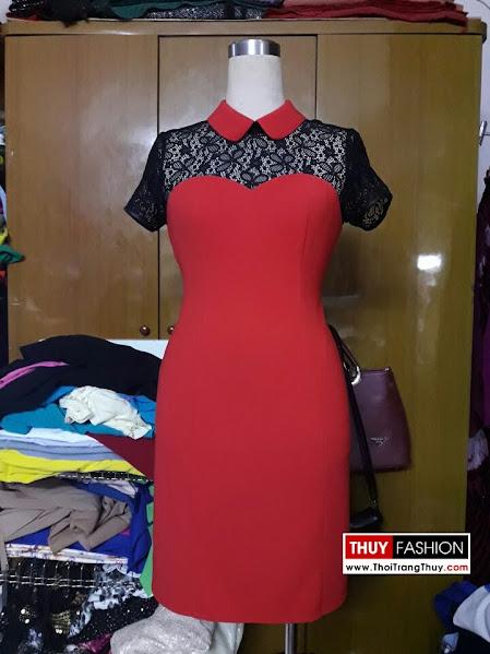 Váy công sở cổ cánh sen phối ren V284 thời trang thuỷ