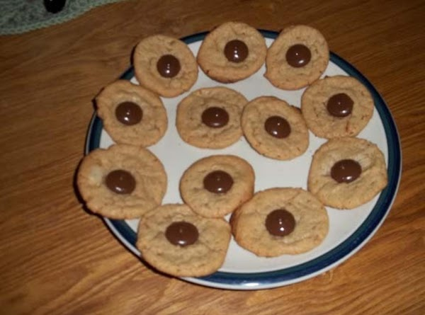Soft Peanut Butter Cookie With A Small Chocolate Piece On Top Recipe