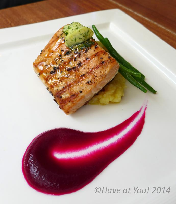 salmon with dill butter beetroot puree