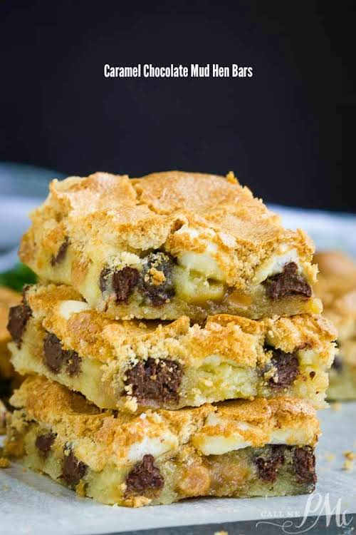 "Caramel Chocolate Mud Hen Bars""Caramel Chocolate Mud Hen Bars have a cookie..."