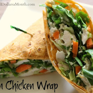 Asian Chicken Salad Wrap with Cilantro Honey Dressing.