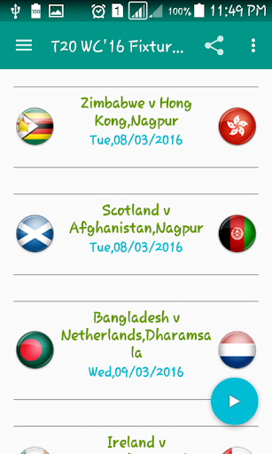 T20 World Cup 2016 Fixtures