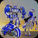 US Police Transform Robot Unicorn Horse Chase Game icon