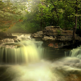 Lake Ann Falls by Dana Johnson - Landscapes Waterscapes ( haze, waterfalls, falls, lake, morning,  )