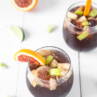 "Non-Alcoholic Black Cherry ""Sangria"" Mocktails."
