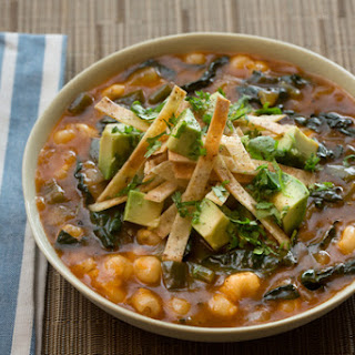 Hominy & Poblano Pepper Pozole with Avocado & Crispy Tortilla Strips