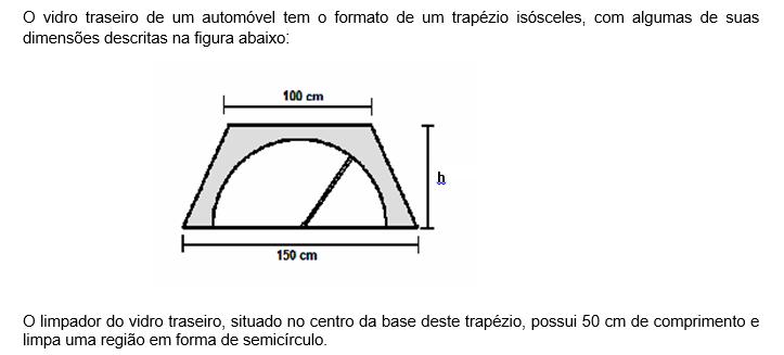 A medida da área da região que pode ser atingida pelo limpador, em centímetros quadrados é de (Use pi = 3 )