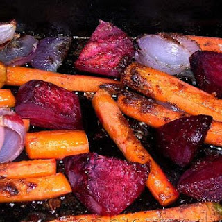 Ras El Hanout Roasted Carrots, Red Onions and Beets
