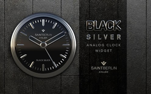 Black Silver Clock Widget Screenshot