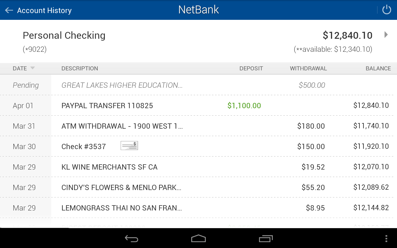 NetBank USA Mobile App- screenshot