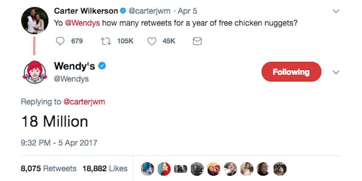 """Carter Wilkerson tweets: """"Yo Wendy's, how many retweets for a year of free chicken nuggets?"""" Wendy's tweets back, """"18 million."""""""