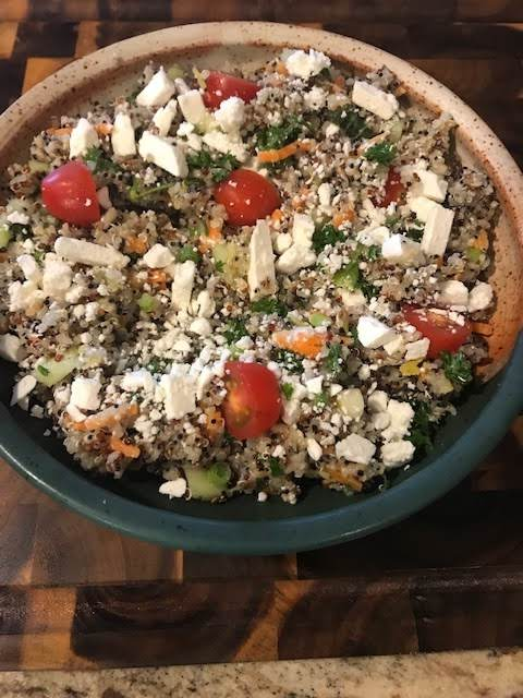 Toss The Gluten Tri-color Quinoa In A Handcrafted Pottery Bowl.