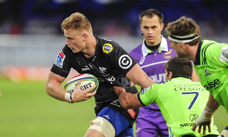 Daniel du Preez of the Cell C Sharks hands off Dillon Hunt of the Highlanders during the 2018 Super Rugby game between the Sharks and the Highlanders at Kings Park Stadium, Durban on 5 May 2018.