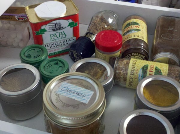 2nd drawer ~ Sweet spices holds cinnamon, cloves, pumpkin pie spice, nutmeg, and others that...