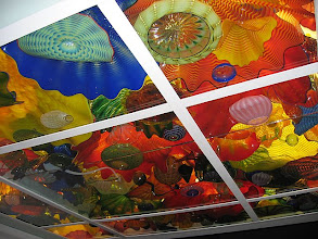 Photo: Persian ceiling mockup as viewed in Seattle on Oct. 16. The Chihuly folks built a to-scale mockup of my ceiling for me to come and review. You'll notice that there are seams in the glass here, which won't appear in the final version -- that's how you can tell it's the mockup.