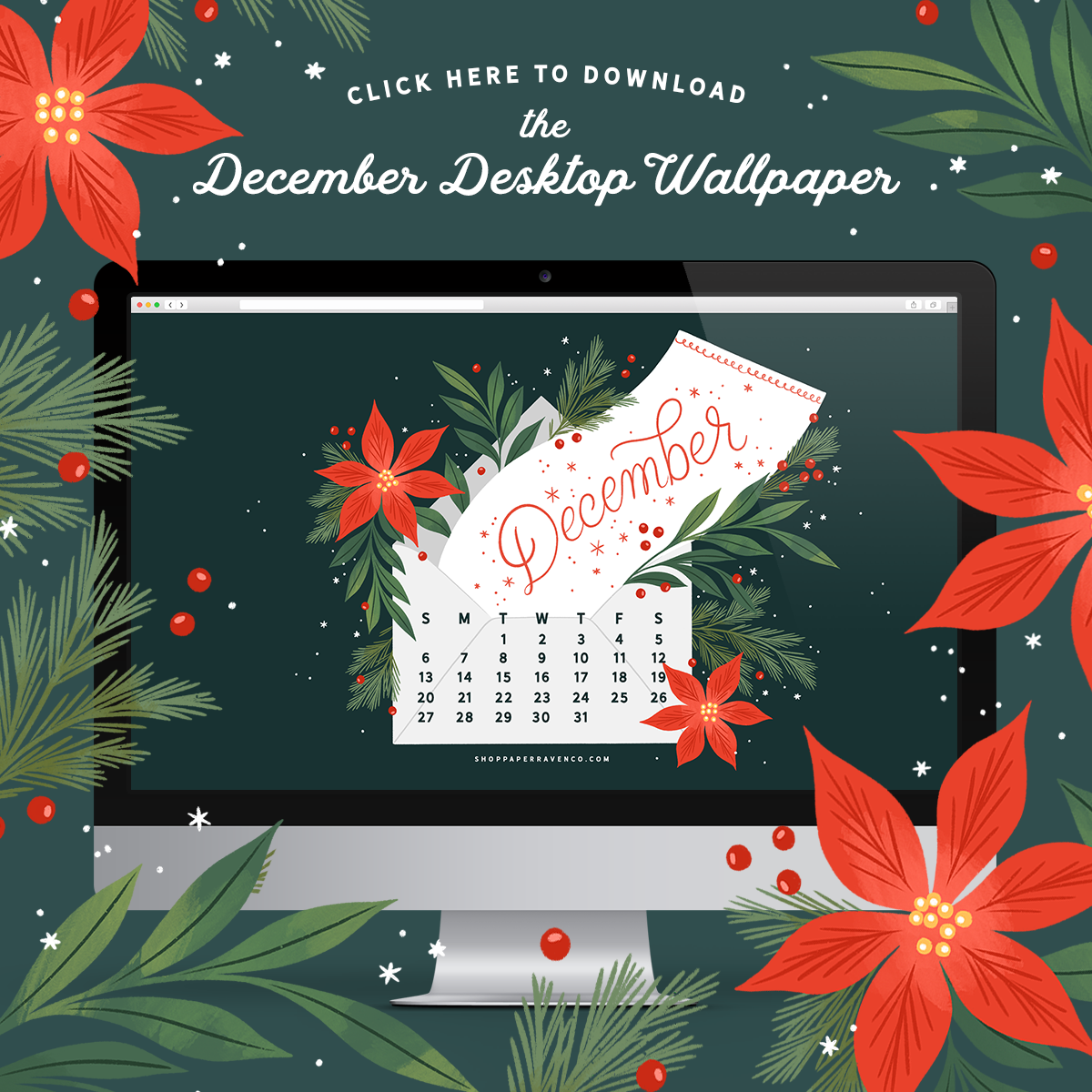 December 2020 Illustrated Desktop Wallpaper by Paper Raven Co. #dressyourtech #desktopwallpaper #holidaywallpaper