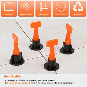 Set 50 tije refolosibile 1.5 mm sistem nivelare gresie