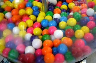 Photo: Gumballs in glass globe