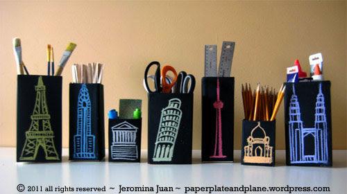 tempat pensil dengan hiasan city scape