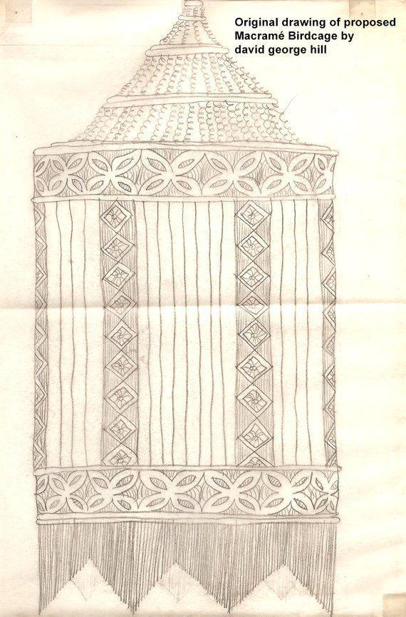 Desenho de macramê em livro antigo.