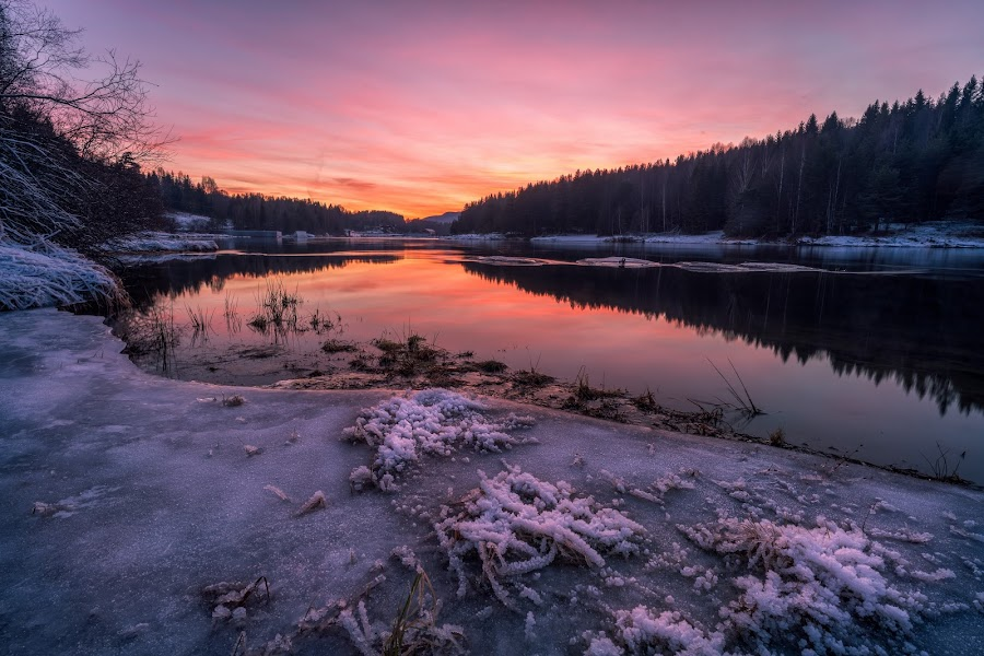 Afterglow by Walter Urnes - Landscapes Sunsets & Sunrises ( water, ice, frost, dramatic sky, river )