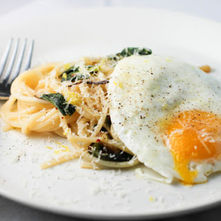 Spaghetti with Ramps and a Fried Egg