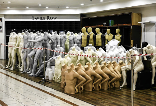 Mannequins packed in a corner at the defunct Stuttafords, in Sandton.