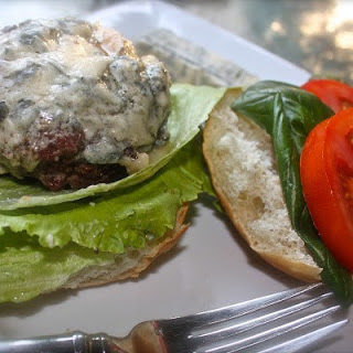 Burgers with Smoky Bacon, Basil and Gorgonzola Cheese
