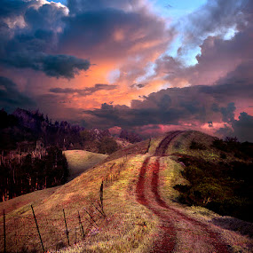 Road to the Sky by Gary Pope - Digital Art Places ( clouds, sunset, digital art, road, sunrise, landscape, photoshop )
