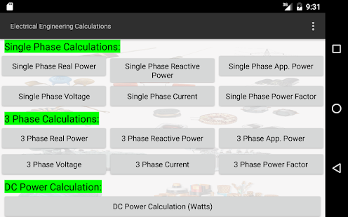 Electrical Calculations- screenshot thumbnail