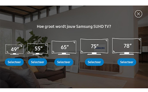 samsung tv size assistant apps on google play. Black Bedroom Furniture Sets. Home Design Ideas
