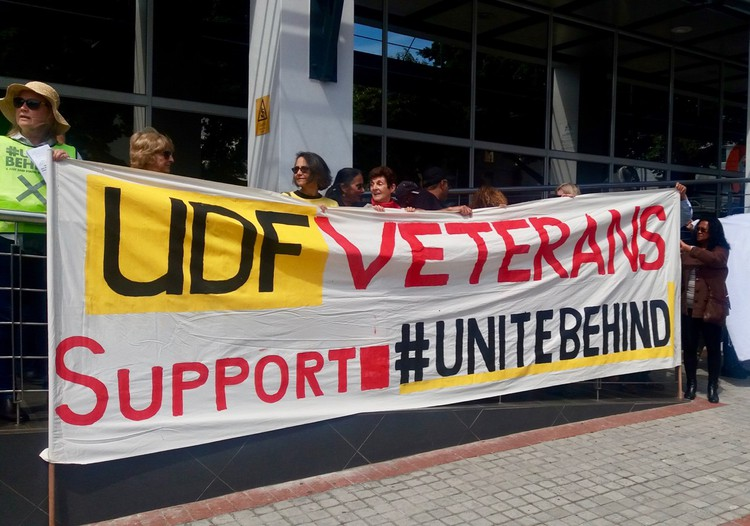 UDF Veterans and #UniteBehind picket outside the offices of the National Prosecuting Authority in Cape Town.